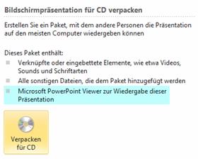 """Falsche Beschreibung zum Befehl """"Verpacken für CD"""""""