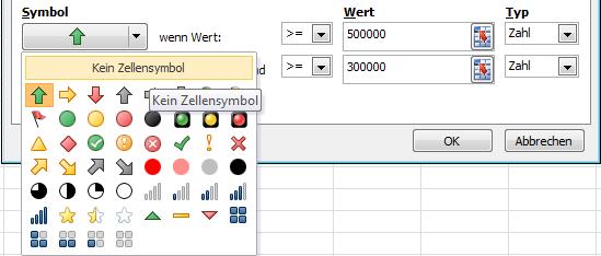 Excel 2010: Für die Aussage unwichtige Symbole einfach ausblenden